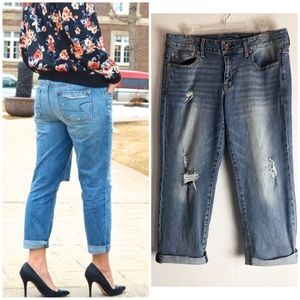 American Eagle Boy Fit Distressed Cropped Jeans 10